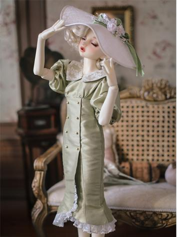 1/3 1/4 Clothes BJD Girl Pinnk/Blue Retro Dress for SD/MSD Ball-jointed Doll