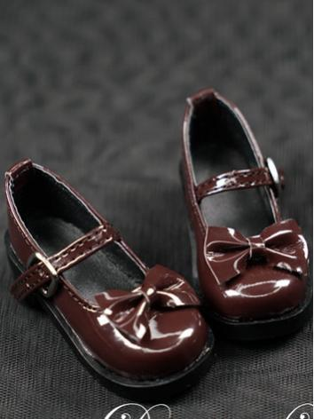 BJD Shoes Girl Black/Brown Flat Boots Shoes with Bowknot for YOSD/MSD/SD Ball-jointed Doll