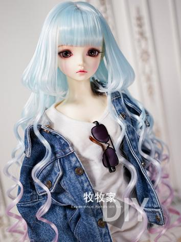 BJD Wig Girl Blue Straight&...
