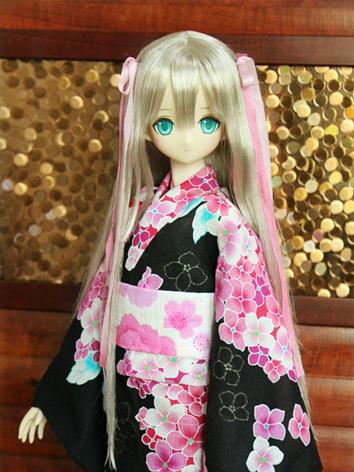 BJD Clothes Girl Black Printed Yukata Kimino Outfit for SD/MSD size Ball-jointed Doll