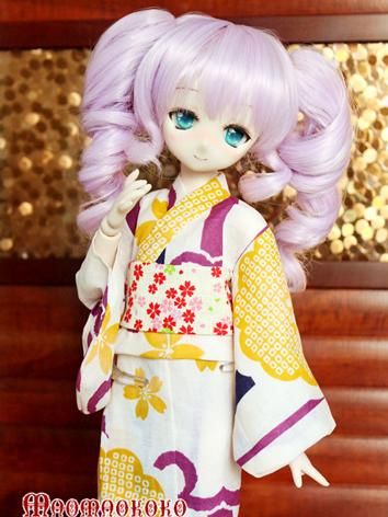 BJD Clothes Girl White Printed Yukata Kimino Outfit for MSD size Ball-jointed Doll