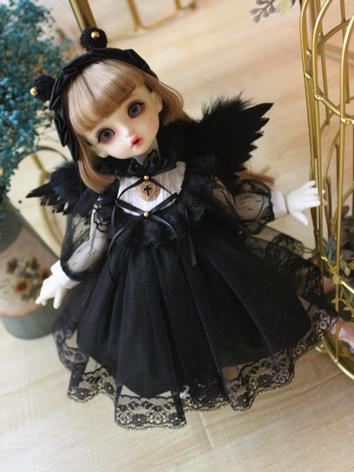 BJD Clothes Girl Black Western Style Dress for SD/MSD/YOSD Size Ball-jointed Doll