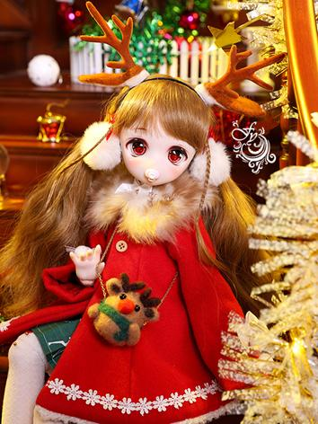 BJD Clothes Girl Red Coat Set for MDD/MSD Ball-jointed Doll
