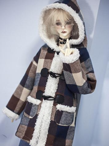 BJD Boy Outfit 1/3 70cm Clothes Brown Grid Warm Coat A302 for SD/70cm Size Ball-jointed Doll