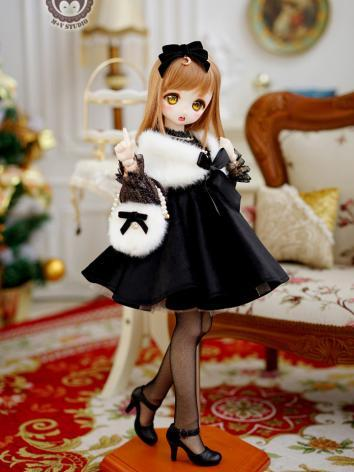 BJD Clothes Girl Black Coat Suit for MSD/MDD Size Ball-jointed Doll