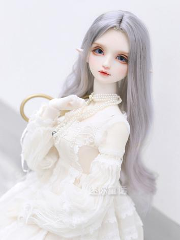 BJD Wig Girl Silver Long Ha...