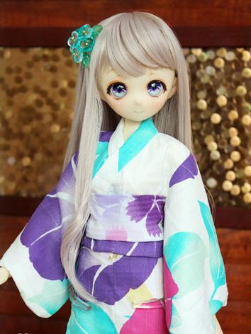 BJD Clothes Girl Purple Printed Yukata Kimino Outfit for MSD size Ball-jointed Doll