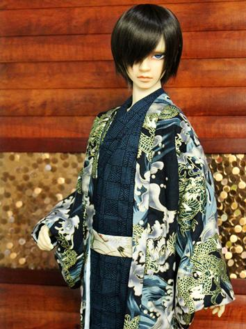 BJD Clothes Boy Black Yukata Kimino Outfit for 70cm/SD/MSD size Ball-jointed Doll