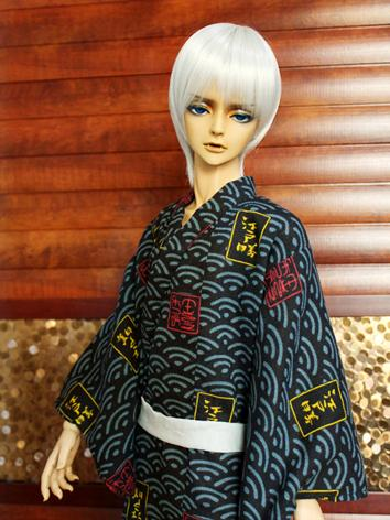 BJD Clothes Boy Blue Yukata Kimino Outfit for 70cm/SD/MSD size Ball-jointed Doll