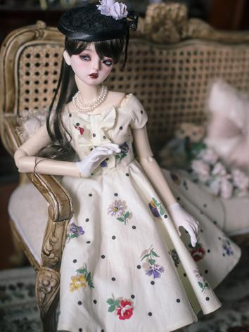 1/3 1/4 Clothes BJD Girl Retro Printed Dress Set for SD/MSD Ball-jointed Doll