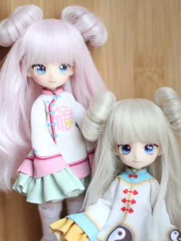 BJD Wig Girl Pink/Gold Double-buns Hair for 1/8 Size Ball-jointed Doll