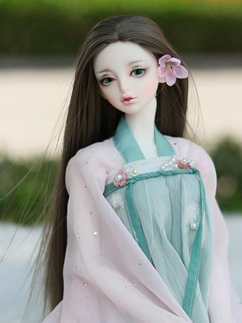 BJD Wig Boy/Girl Dark Brown//Pink Long Hair for SD Size Ball-jointed Doll