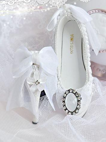 BJD Girl/Female White High-heel Shoes for SD/MSD size Ball-jointed Doll