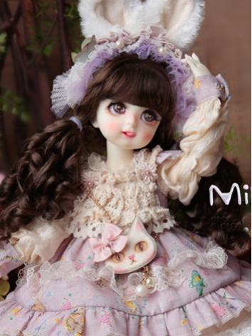 BJD Wig Girl Chocolate Curly Hair Wig for MSD Size Ball-jointed Doll