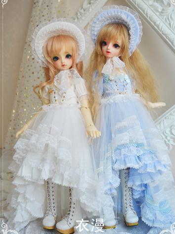 BJD Clothes Girl White/Blue...