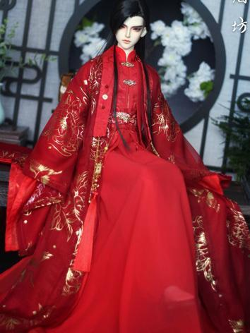 BJD Clothes Boy Red Ancient Outfit Set for 70cm size Ball-jointed Doll