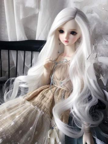 BJD Wig Girl White Long Hair for 1/2 SD/MSD/YOSD Size Ball-jointed Doll