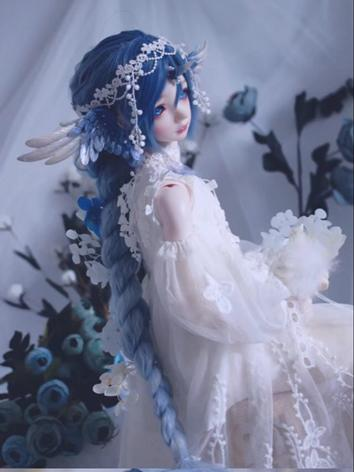 BJD Wig Girl Blue Long Hair for 1/2 SD/MSD/YOSD Size Ball-jointed Doll Hailang
