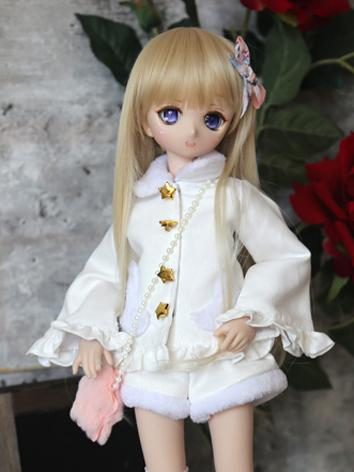 BJD Clothes Girl White Coat and Shorts Suit for SD/DD Ball-jointed Doll