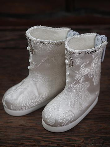 【Limited Edition】Bjd Shoes 1/6 Brocade white boots SH617061 for YO-SD Size Ball-jointed Doll