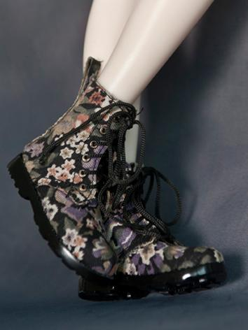 Bjd Shoes 1/4 BJD Flower Printed Black High Boots SH42006 for MSD Size Ball-jointed Doll