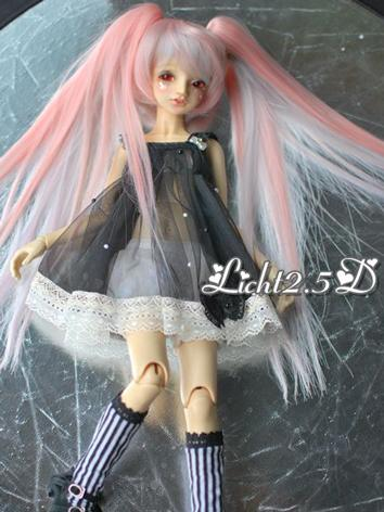 1/4 1/6 Wig Girl Pink Long Straight Hair for MSD/YSD Size Ball-jointed Doll