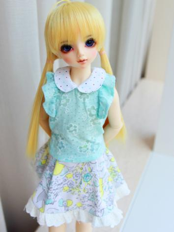 BJD Clothes Girl Blue Shirt and Skirt for MSD Ball-jointed Doll