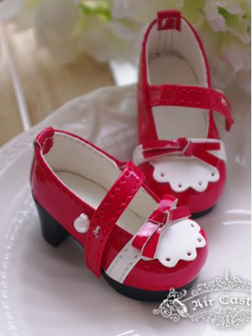 Bjd 1/6 Girl Shoes White/Re...