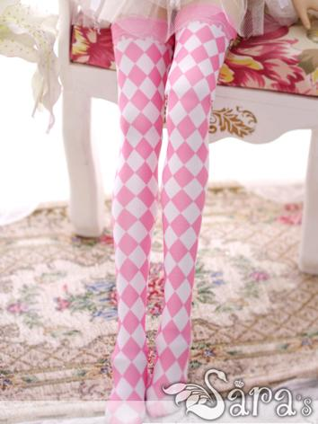 Bjd Socks Lady Pink&White Diamonds High Stockings for SD Ball-jointed Doll