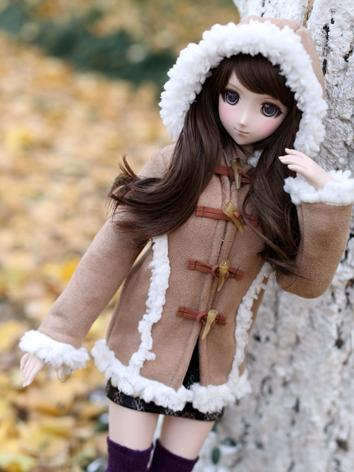 1/3 1/4 Girl Clothes Brown/Beige Coat for SD/DD/MSD Size Ball-jointed Doll