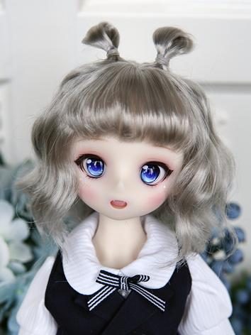 BJD Wig Girl Silver Long Cu...