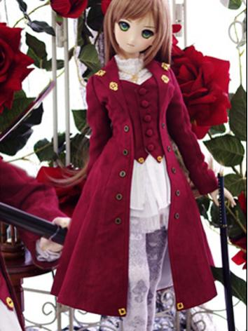 BJD Clothes Girl Red Coat a...