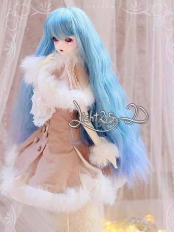 BJD Wig Girl Skyblue Curly Hair [-C1- ] for SD Size Ball-jointed Doll