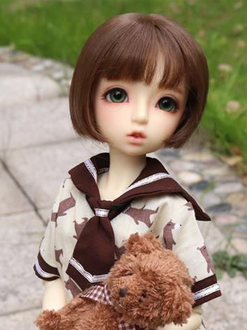 BJD Wig Girl Brown Short Ha...