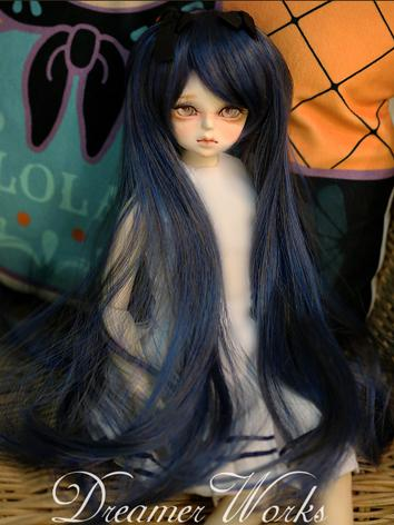 BJD 1/3 1/4 Wig Black&Blue Long Hair for SD/MSD Size Doll Ball-jointed doll