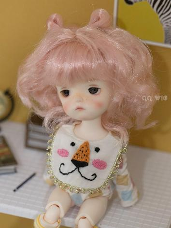 BJD Wig Gold/Pink Long Curl...