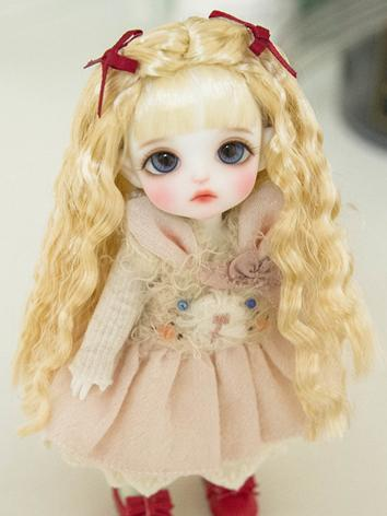 BJD Wig Girl Gold Hair Wig for SD/MSD/YOSD/ 1/8 Size Ball-jointed Doll