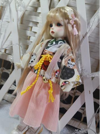 BJD Clothes Girl/Boy White Printed Kimono and Skirt Suit for YOSD Ball-jointed Doll