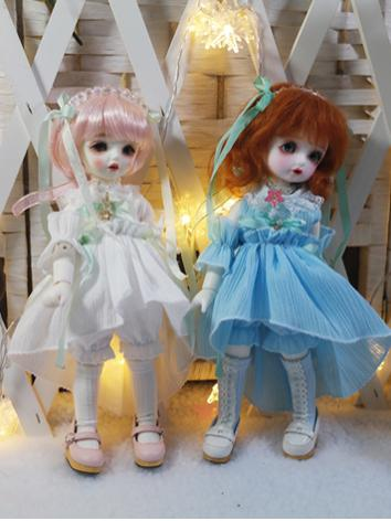 BJD Clothes Girl Blue/White Dress Suit for YOSD Ball-jointed Doll