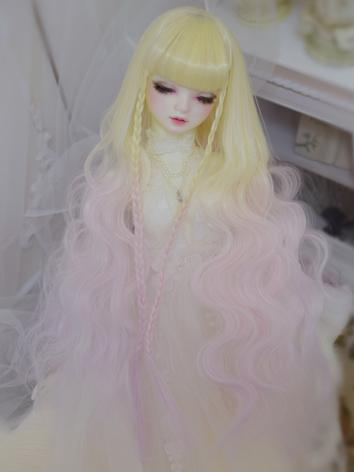 BJD Wig Girl Yellow&Pink Long Curly Hair for SD/MSD/YOSD Size Ball-jointed Doll