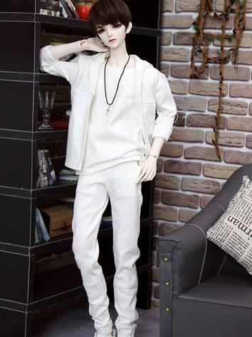 BJD Clothes Boy White Sports Set for 70cm/SD/MSD Ball-jointed Doll