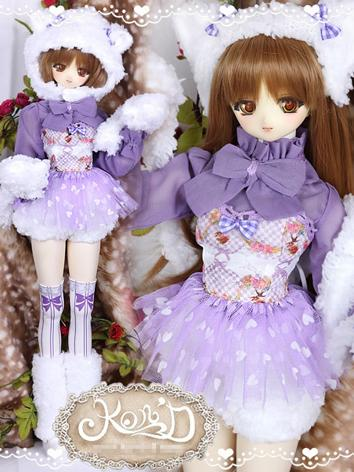 1/3 BJD Clothes Girl Purple Coat and Skirt Suit for SD/DD size Ball-jointed Doll