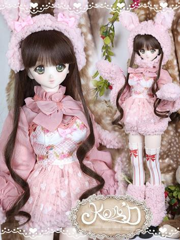 1/3 BJD Clothes Girl Pink Coat and Skirt Suit for SD/DD size Ball-jointed Doll