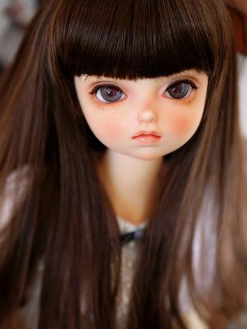 BJD Wig Girl Brown Long Cur...