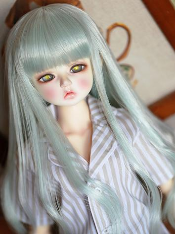 BJD Wig Girl Green Long Cur...