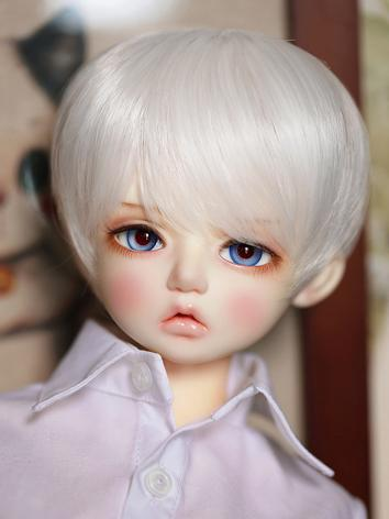 BJD Wig Girl White Short Ha...