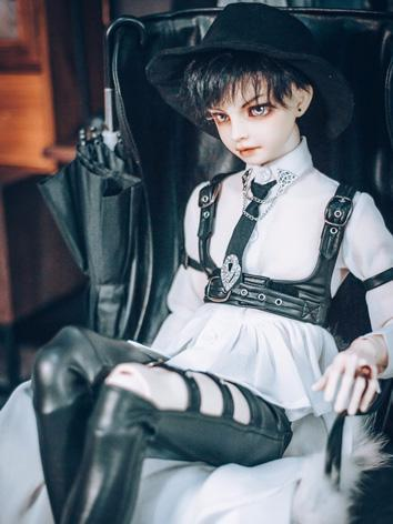BJD Clothes Boy Black Leather Trousers and White Shirt for MSD/SD/POPO68/70CM size Ball-jointed Doll