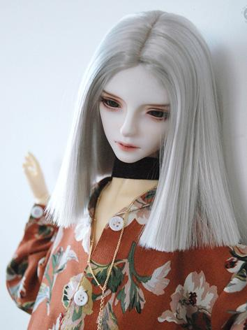 BJD Wig Girl Silver Long Straight Hair Wig for SD/MSD Size Ball-jointed Doll