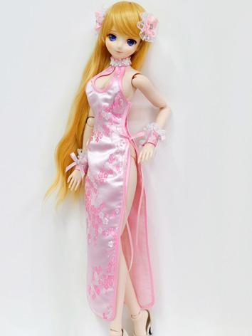 BJD Clothes Girl Pink Chinese Dress Cheongsam for SD/DD Ball-jointed Doll