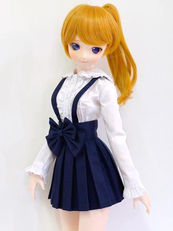 BJD Clothes Girl White Shirt and Dark Blue Suspender Skirt for MSD/SD Ball-jointed Doll